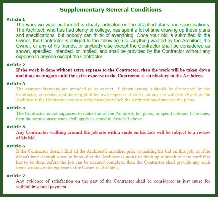 Supplementary General Conditions